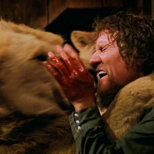 """FOR SUNDAY PULSE -- FILM STILL  CAPTION:ROAR_Kiss: Hank (Noel Marshall) receives a """"kiss"""" from one of the lions in Drafthouse Films' Roar. Courtesy of Drafthouse Films."""